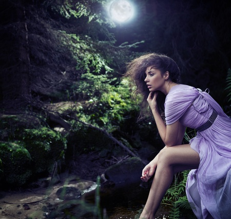 nymphs: Cute woman in nature scenery Stock Photo
