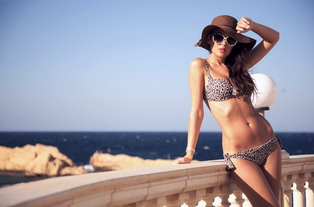 sea sexy: Young beauty on vacation day Stock Photo