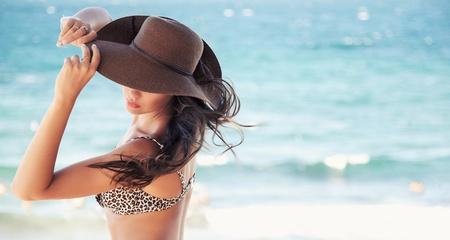 beach hat: Cute woman in hat