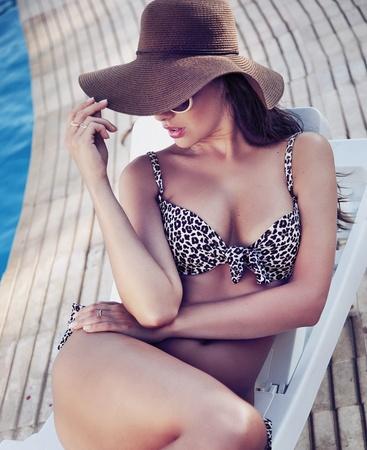 pamper: Charming brunette relaxing