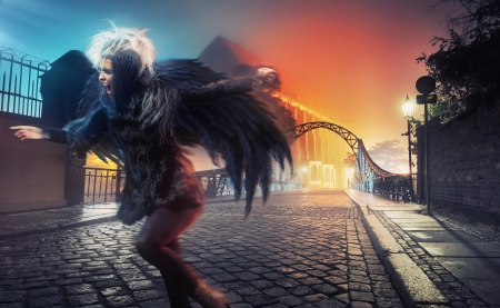 Raven woman running on empty city street