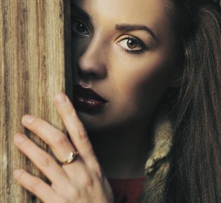 sad eyes: Portrait of a beauty brunette