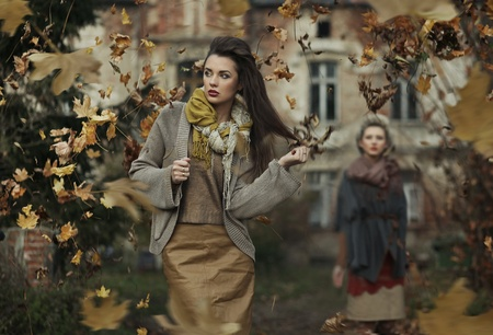 fall beauty: Two young lady Stock Photo