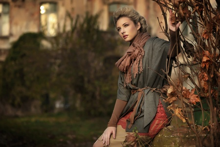 Autumn scenery and blond beauty photo