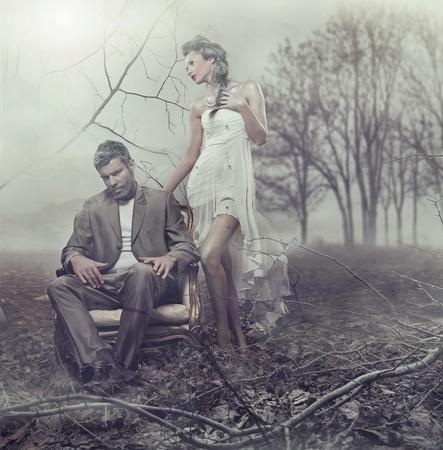 mystery man: Beautiful couple in winter scenery