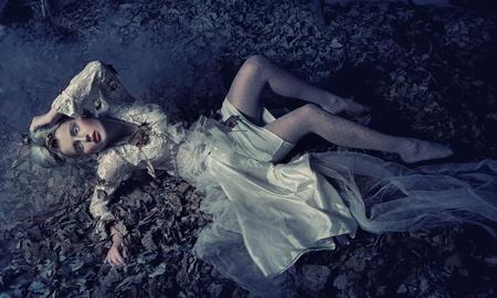 Blond beauty laying photo