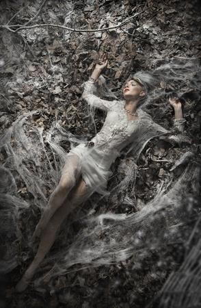 Foto de la bella arte de una mujer sexy tumbada en hojas Foto de archivo - 12526449