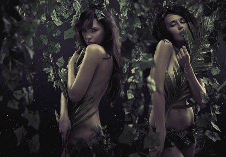 Two sexy women in jungle photo