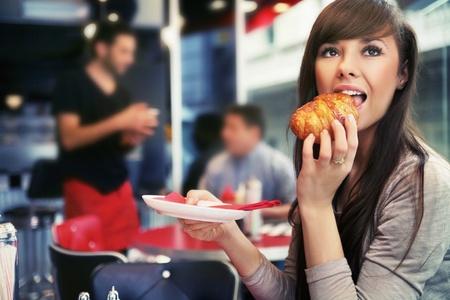 Woman at restaurant photo