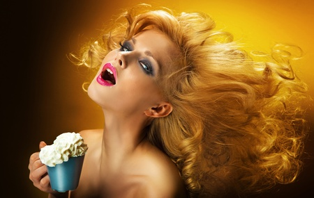 Sexy woman with cup of coffee photo