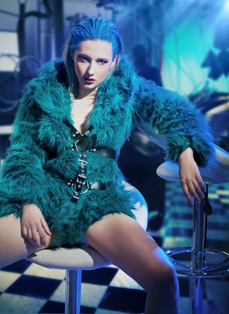 Sexy woman wearing fur photo