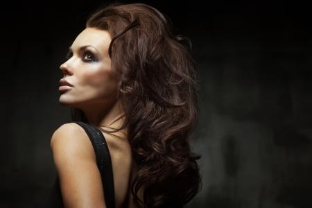 woman profile: Portrait of a beautiful lady Stock Photo