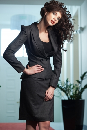 evening dress: Sexy woman wearing elegant suit Stock Photo