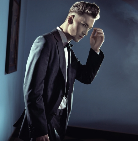 sideways: Handsome man wearing suit
