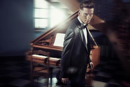 keyboard player: Handsome man