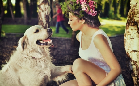 spring training: Young woman training her dog Stock Photo