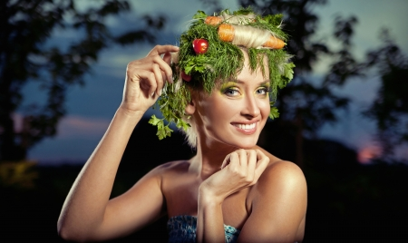 Vegetables-style portrait of a blond lady photo