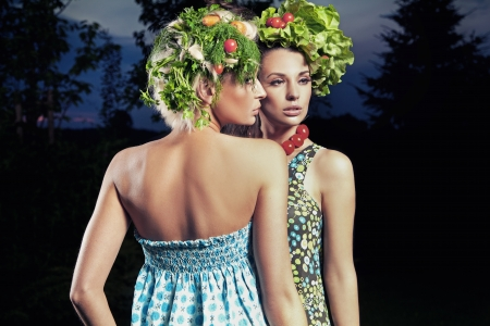 Two women with eco hair style photo