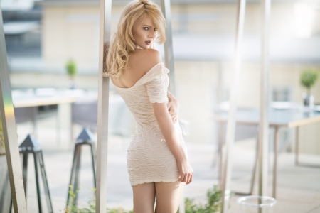 Sexy blonde woman in white dress Stock Photo - 15864828