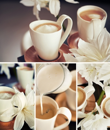 Coffee cups with flowers photo