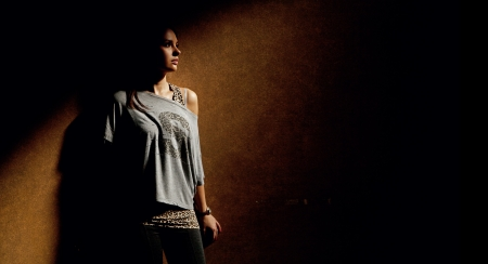 Calm woman in dark place Stock Photo - 16119227