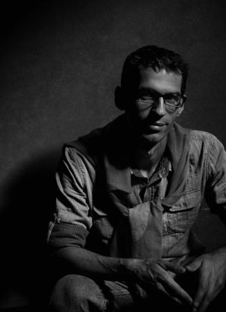 mystery man: Black-white photo of handsome man