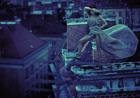 woman night: Woman on the roof of the city