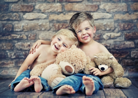 Two little boys enjoying their childhood Stock Photo