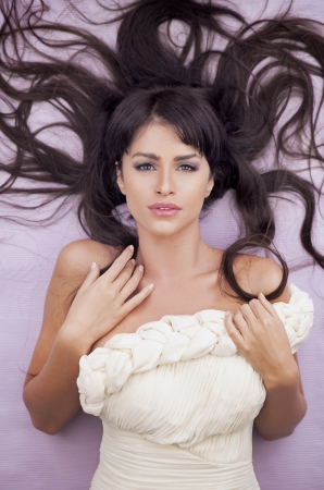 Sensual fashion woman with beautiful long brown hairs Stock Photo - 16119272