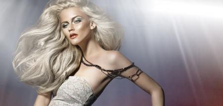 nude fashion model: Picture of whitehair young woman Stock Photo