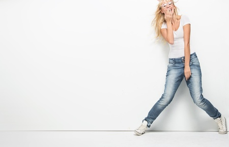 fashion  woman: Young blonde lady in casual clothes
