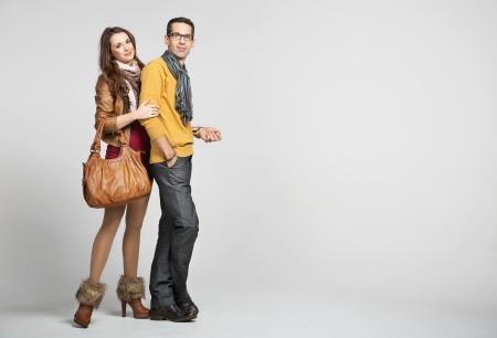 Elegant couple and the autumn fashion Stock Photo - 16573609