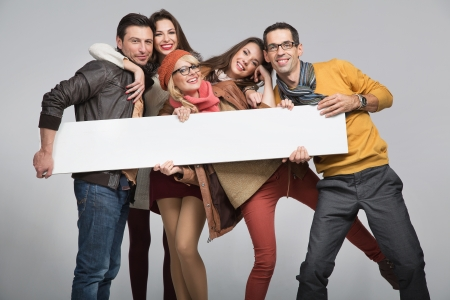 happy people: Group of young friends want to advertise