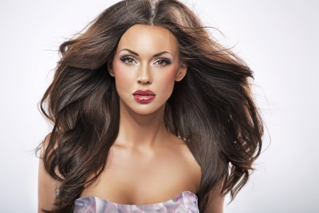 beautiful hair: Great portrait of a perfect female beauty Stock Photo