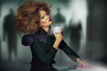 beautifu: Art picture of beautifu youngl woman with unsual haircut