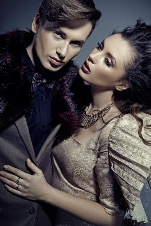 sensuality: Beautiful woman hugging her handsome boyfriend