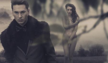 nude fashion model: Fashion male model and nude pretty woman Stock Photo