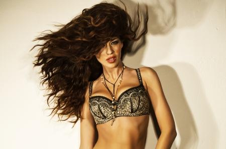 Great shot of a sensual woman with bushy haircut Stock Photo - 18393875