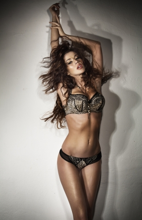 Sensual brunette young lady and lingerie