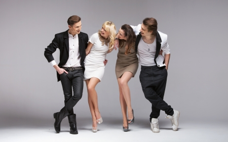 fashion make up: Small group of laughing young models