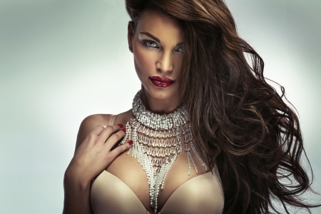 bra model: Amazing girl with fabulous sensual lips Stock Photo