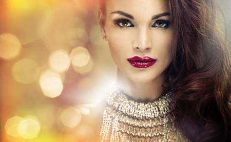 Portrait of attractive brunette woman with amazing look photo
