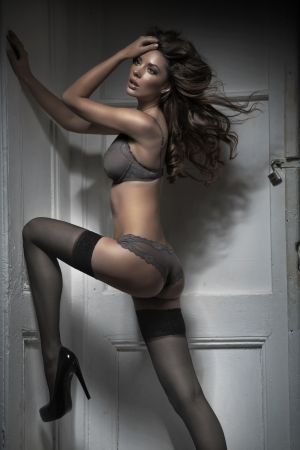 Amazing woman wearing sexy stockings photo