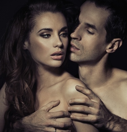 sex couple: Portrait of a sensual young couple in romantic pose