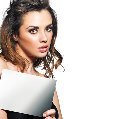 Pretty woman with small empty adverb board Stock Photo - 18878680