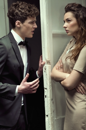 Attractive young couple having a serious argument Stock Photo - 18878729