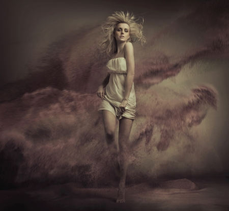 Fine art photo of blonde lady photo