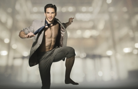 Happy attractive guy in jump pose Stock Photo - 19566430
