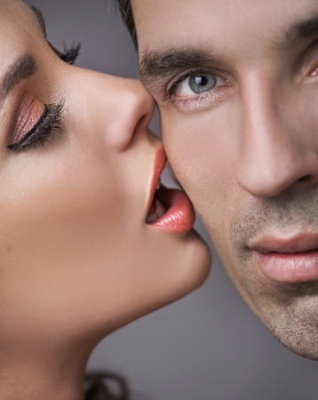 undressed: Happy handsome man with his sensual girlfriend Stock Photo