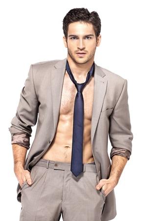 mujer con corbata: Hombre guapo inteligente con mirada seria